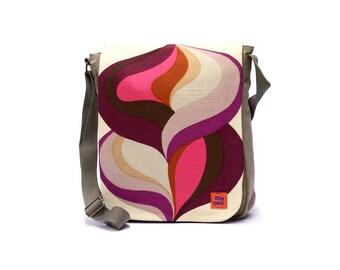 Purple Messenger Bag - Vintage Fabric Upcycled Canvas Bag - Crossbody bag - Retro Shoulder Bag by EllaOsix