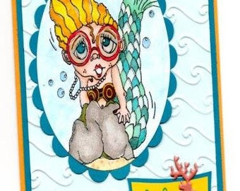 1549 Mermaid Four Eyes Digi Stamp