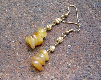 1/2 PRICE SALE Eco-Friendly Dangle Earrings - Amber Afternoon - Recycled Vintage Scrollwork Metal and Faux Stone Honey Colored Nugget Beads