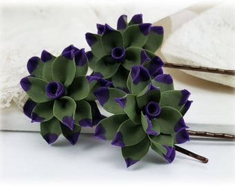 Tipped Succulent Hair Pins - More Colors, Succulent Hair Accessories