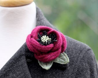 Wool Flower Brooch Red Rose Flower Pin