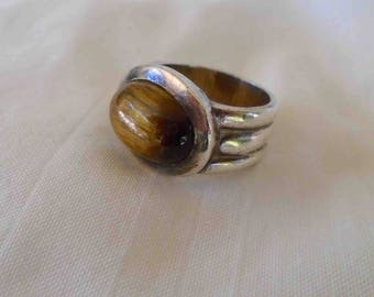 Vintage Sterling Siver and Tiger's Eye Brown Stone Chunky Ring / Size 5-6