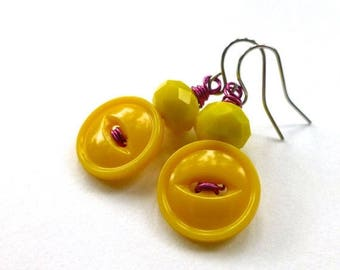 BUTTON JEWELRY SALE Bright  Yellow Earrings from upcycled Vintage Buttons with Magenta Wire