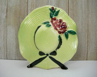 Vintage Green Bonnet Hat Wall Pocket Vase - Hand-painted Flowers, Leaves and Ribbon - Girl's Room - Hangs or Sits - Pen or Toothbrush Holder