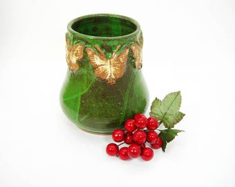 "Stoneware Pottery Vase - Dark Green Glaze -Decorative Butterflies Around Top - Vintage Handmade Artisan Pottery - 5-1/2"" Tall x 4-1/2"" Wide"