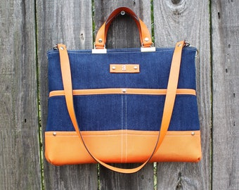 Chic Blue and Orange Denim zipper closure purse, double strap handbag shoulder bag, with leather straps and personalized initial