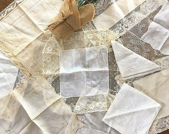 Hanky Panky... Antique Hankies Lace Cotton Silk Linen Wedding Linens Something Old