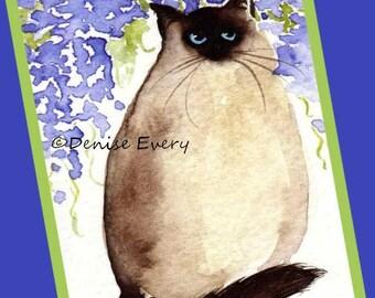 Himalayan Kitty with Wisteria Sealpoint Himalayan Cat Art Print Cat ACEO Himalayan Cat Lover Himalayan Cat Gift Cat ACEO Print