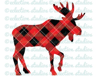 Buffalo Plaid Moose, woodland animal, lumberjack, hipster boy or girl SVG, DXF, eps, jpg, png cut cutting file for silhouette and cricut