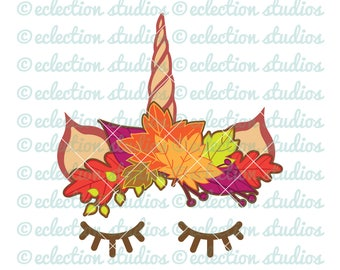 Fall Unicorn SVG, Halloween SVG, Fall Leaf Crown Unicorn horn and ears, unicorn face cake topper, eyelashes svg, dxf, eps, jpg, png cut file