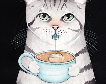 Cat With a Cuppa Tea Original Silver Tabby Cat Folk Art Watercolor Painting