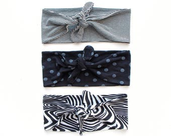 SALE SEE DESCRIPTION Tie Up Headscarf // Fashion Headband // Stretch Hair Wrap // Black and White Pinstripe