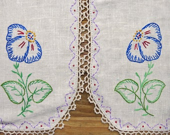 Vintage Embroidered Linen Antimacassar 2 Piece Arm Rests, Covers... Blue Poppies ... Crochet Lace Edge Trim, Flowers, Sewing Supply