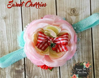 RTS Sweet Cherries Glamour Bloom Hair Flower clip headband county fair