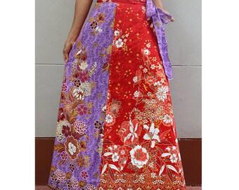Handmade 8 Pieces floral Thai batik Sarong patchwork long comfortable  wear wrap skirt fit all size (BT 11)