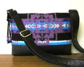 RESERVED FOR jfunbio Shoulder Bag Cross Body Bag Purse Wool Adjustable Black Leather Strap