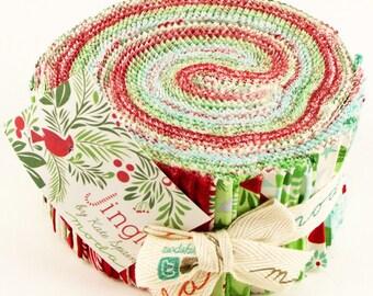 "Moda Jingle Jelly Roll 2.5"" Precut Fabric Quilting Cotton Strips Kate Spain 27210JR"