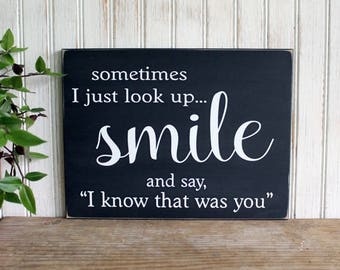 Sometimes I just look up Smile Wood Sign Inspirational Family Angels and Heaven