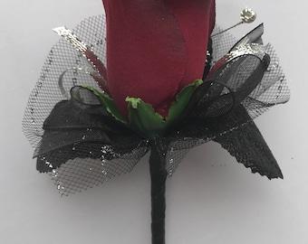 Burgundy Silk Rose Boutonnière