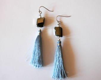 Long Tassel Earrings / Long Blue Silver Tassel Earrings Sterling Silver and Faceted Pyrite Gemstone Nugget Earrings with Powder Blue Tassels