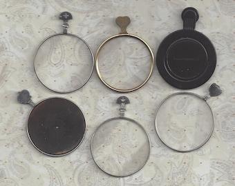 6 Vintage Optical lenses..silver and gold or brass frames