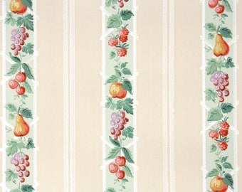 1940s Vintage Wallpaper by the Yard - Kitchen Wallpaper Fruit Stripes Green on Beige Grapes Pears Cherries Raspberries