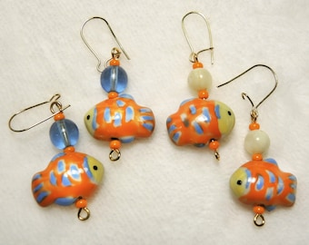 Color Choice - Ceramic Nemo Clown Fish and Beads Pierced Dangle Earrings