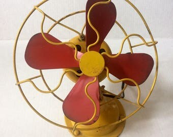 Vintage 20's Rotating Fan, Red Blades & Yellow Body