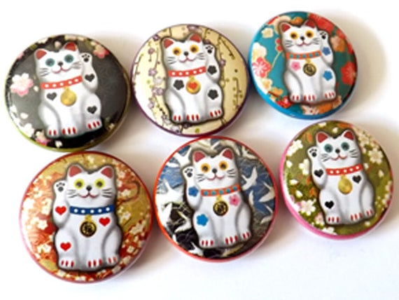 Maneki Neko Cat Fortune 1 inch pin backs button pins badges Kitty lucky stocking stuffer party favors gift flair magnet geekery housewarming
