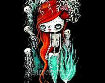 Sugar Skull Print Cute Dead Mermaid Skeleton Wall Art