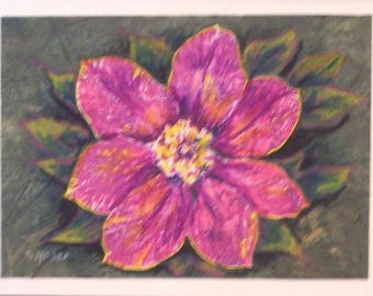 Original Art - Nature Print - Colored Pencil and Marker Enhancement - Clematis Flower - Pink Clematis - Floral - Mixed Media