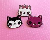 Kawaii Kitty Cat Enamel Pin - Your Choice or Set of Three