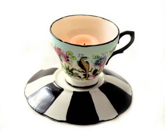 Tea Cup Candle Votive - Antique Fine Bone China - Peacock Garden - Tim Burton Inspired - Alice in Wonderland - Tea Lovers Gifts