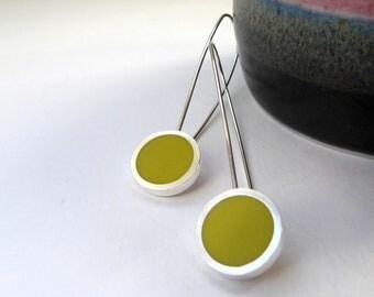 Yellow Earrings - Long Sulphur yellow Drop Earrings - Round Silver Earrings - Minimalist Jewellery - Gift for Mum - Pop Long Drop Earrings
