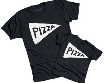 NEW Black Father Son matching Pizza shirts, mens funny tshirts, husband christmas gift, funny gift from kid dad graphic tee