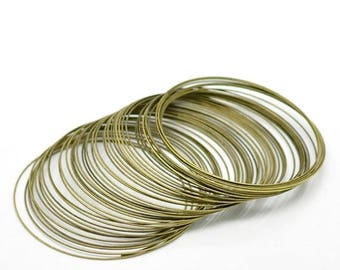 30% Retirement Closeout - Memory Wire Bracelet, Antiqued Brass, 50-55mm, 24 Gauge, 25 Loops, 5WI03-8854