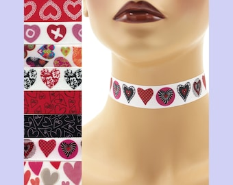 Custom Valentine's Day Choker 7/8 inch wide Hearts Love Sweetheart kisses and hugs XO St Valentine Red Pink ( 22 - 23 mm width) Your Size +