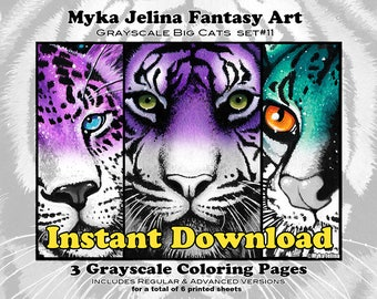 Grayscale Set 11 - Big Cats - Printable Coloring Book - Myka Jelina Art - Animal Coloring - Instant Download - Wild Cats - Tiger - Leopard