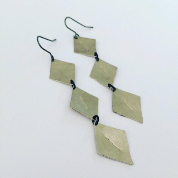Long Silver Tone Rhomboid Earrings - Statement - Festival - Gypsy - Feminine - Bold -