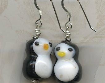 Happy Penguins Sterling Silver Earrings