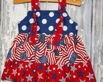 Going out of business SALE, girls knot dress ,size 0-3 girls patriotic dress, Ready to ship