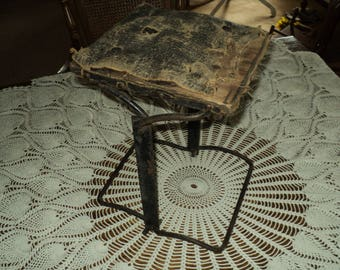Primitive Small Cast Iron Folding Leather Stool/Foot Rest Stool-1930's