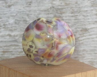 Handmade Glass Lampwork Lentil Focal Bead - Yellow Rose Potpourri