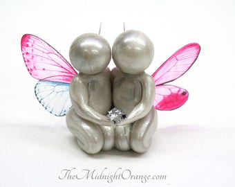 Remembrance Gift for Twin Loss or Multiple Loss - clay angel butterfly babies sculpture - made to order in your choice of wing colors