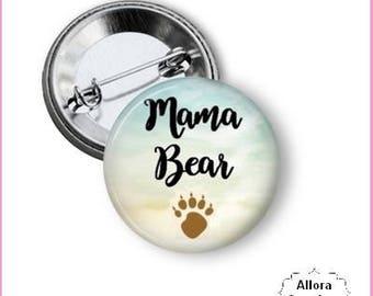 Mama Bear Pinback Button Design 2