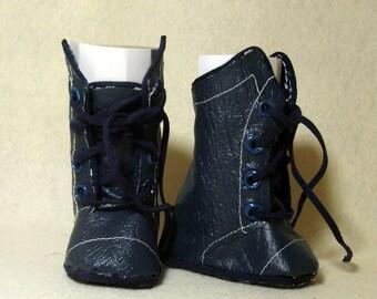 "Blue Vinyl calf-high boots for 18"" doll"