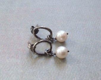 Akoya Pearl Post Earrings - Oxidized Sterling Silver Earrings - Rustic Minimalist Earrings - Metalwork Earrings - Oval Link Earrings