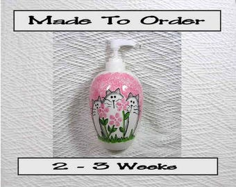 Pink Cats & Flowers Pottery Soap Dispenser Lotion Bottle Handmade To Order by Gracie