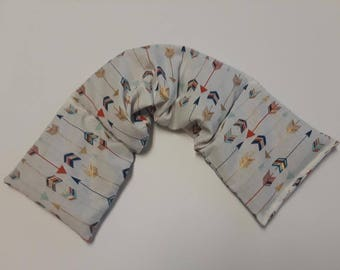 Heating Pad, Rice Flaxseed Heat wrap for neck, Uscented or Scented , Gold Navy Arrow