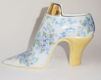 Shoe - Forget Me Not Floral Decor - Porcelain - Large Size - A Beauty